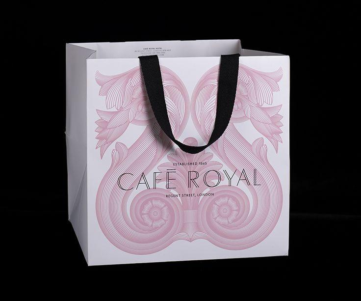 Carrier bag with illustrative detail for Cafe Royal designed by Pentagram