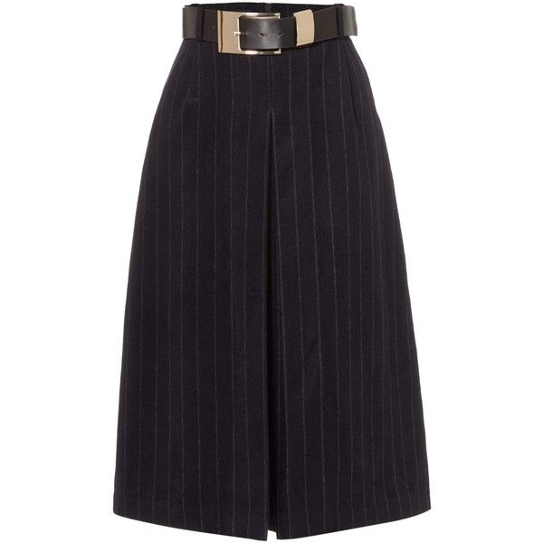 Lost Ink Pinstripe Belted Midi Skirt ($59) ❤ liked on Polyvore featuring skirts, bottoms, black, women, calf length skirts, midi skirt, pinstripe skirt, belted skirt and mid calf skirts