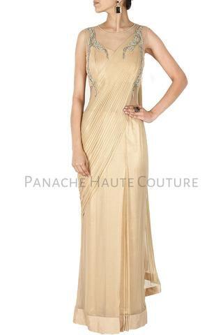 Beige Color Designer Saree Gown Online
