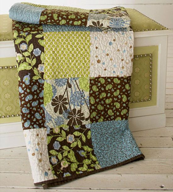 This project of 8-1/2-inch squares makes for easy quilting with a huge impact. Bright greens, soft blues, and dark browns allow this quilt to easily transition between seasons