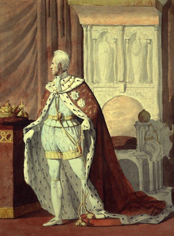 Frederik 6. i kroningsdragt. Til venstre ses kronen og bagved Frederik 6. står tronen. Malet af Wilhelm Ferdinand Bendz.