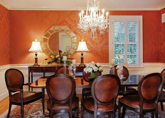 1000 ideas about orange paint colors on pinterest for Dining room decorating ideas wallpaper