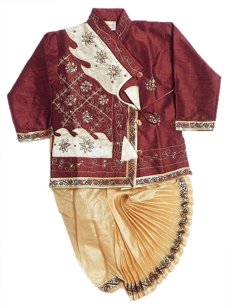 Embroidered+Beige+Kurta+and+Ready+to+Wear++Dhoti++(Silk+Tussar)
