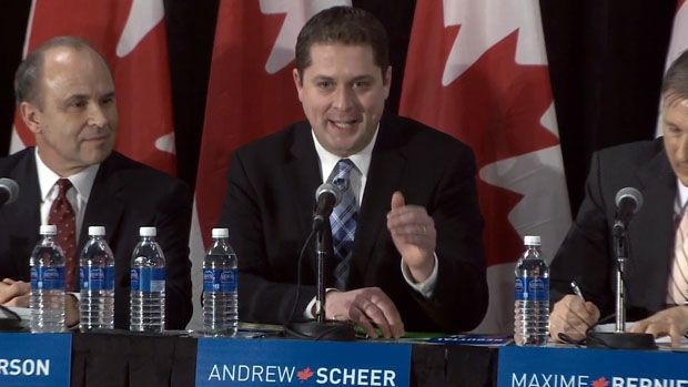 Andrew Scheer, seen here during the Conservative leadership debate in Halifax Saturday evening, wants to make maternity and parental leave benefits tax-free if he's elected to lead a future Conservative government.