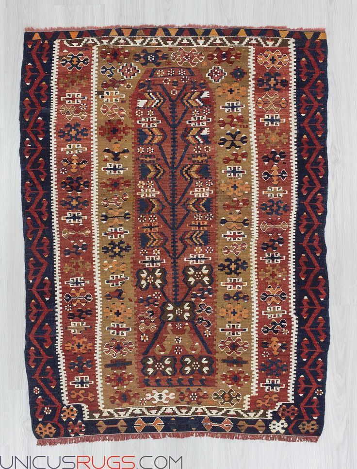 "Antique small prayer kilim rug from Aydin region of Turkey.In very good condition.Approximately 70-80 years old. Width: 3' 9"" - Length: 5' 1""  Colorful Kilims"