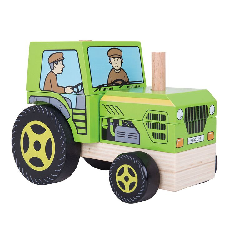 Two toys in one! Develop dexterity and problem solving skills with this stacking and push along wooden toy. Before this wooden vehicle can get on the move, your little one must first stack all of the pieces up in the correct order and then the push along fun can begin!