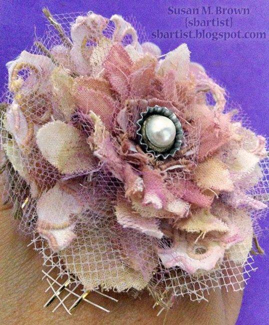 burlap and muslin flowers | Pretty in Pink for Tim Holtz Tattered Floral Challenge