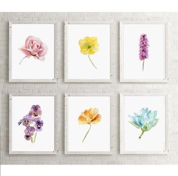 Set van zes bloem Aquarel schilderijen   Kunstprint  door Zendrawing