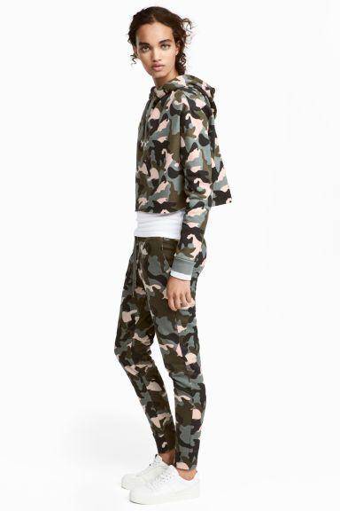 Pantalon jogger - Vert kaki/motif - FEMME | H&M