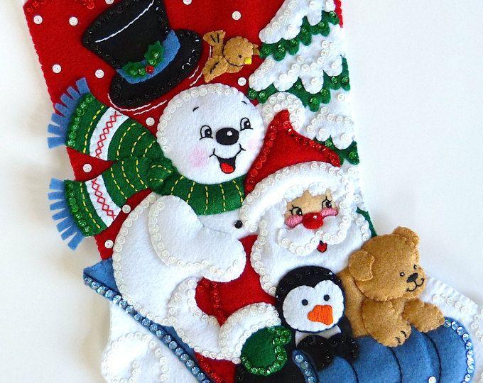 Christmas Stocking Bucilla Finished Stocking Personalized Felt Stocking Family Children Kids Boys Girls Stocking Winter Fun Snowman Stocking