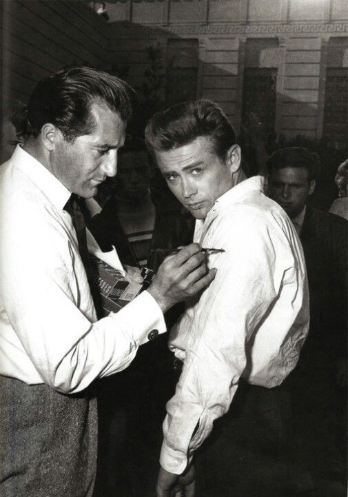 James Dean behind the scenes of Rebel Without A Cause