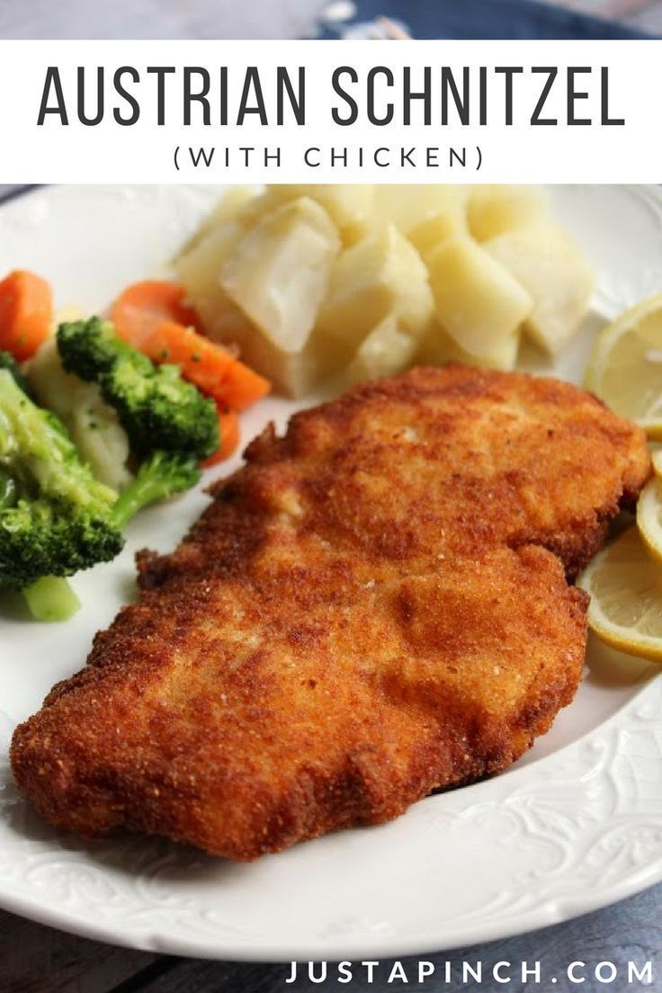 Austrian Schnitzel (with Chicken) recipe that is crispy and oh so tasty! A super easy dinner recipe. #easyrecipe #chickendinner