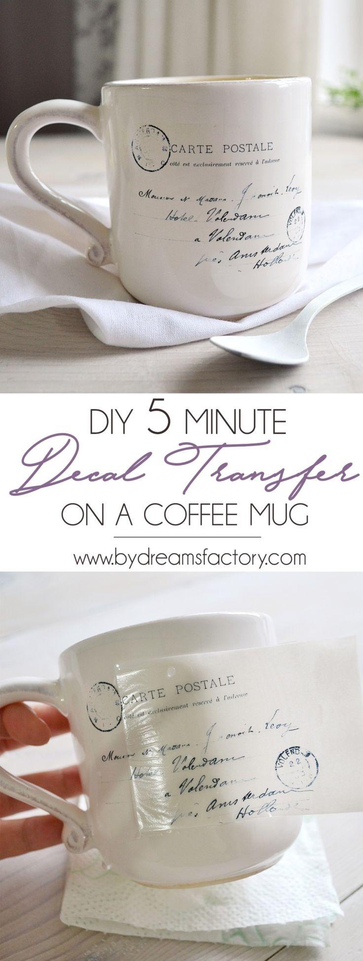 Transferencia de la etiqueta DIY de 5 minutos sobre una taza de café - Dreams Factory