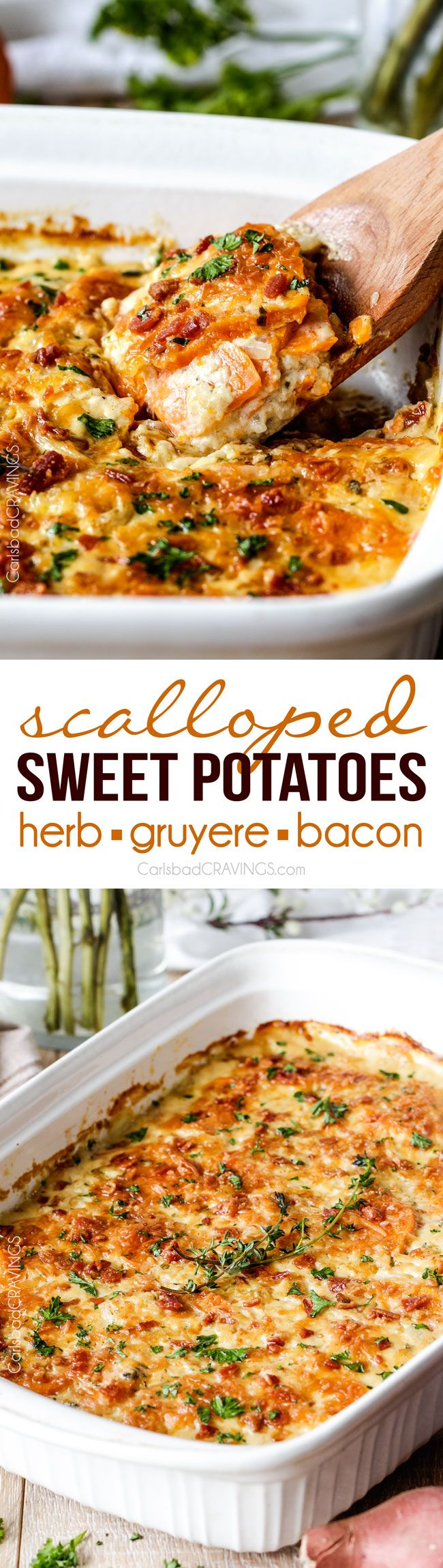 Herb Scalloped Sweet Potatoes with Bacon and Gruyere | Carlsbad Cravings | Looking for the BEST scalloped sweet potatoes ever EVER?! Fresh herbs simmered in cream poured over layers of potatoes, bacon and onions topped with Gruyere cheese. Perfect for Thanksgiving, company or every day!