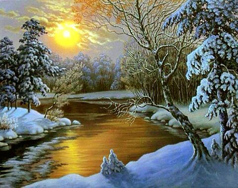 Sun Sets Over The Snowy Land And The River Glistens With Gold ~ A Snowy Winterland.