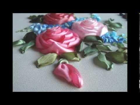 Вышивка лентами. Комбинированная роза и незабудки.