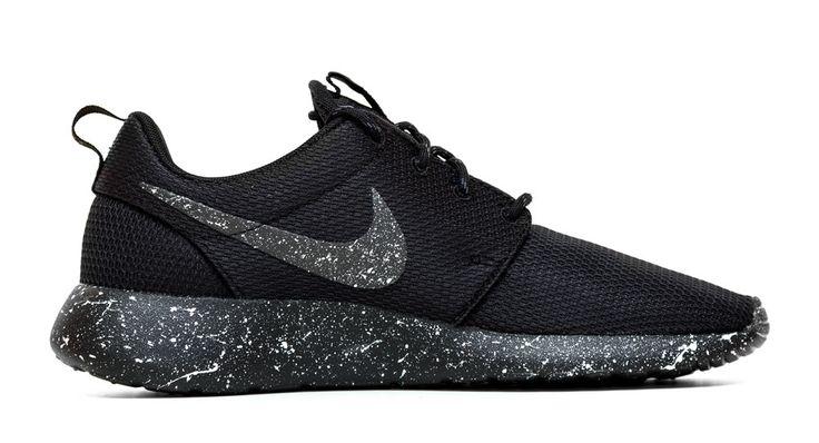 Nike Roshe One Customized by Glitter Kicks - 'Oreo' Black / White Paint Speckle