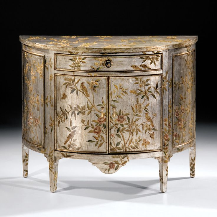 Silvered and Hand Painted Demi Lune Credenza