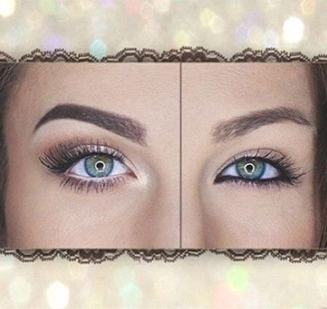 Use black liner and darker colours around eyes in office scene to create illusion of smaller eyes (right) and in party scene use lighter colours and liner as well as lash curlers (false lashes for band members) to really open the eyes up.