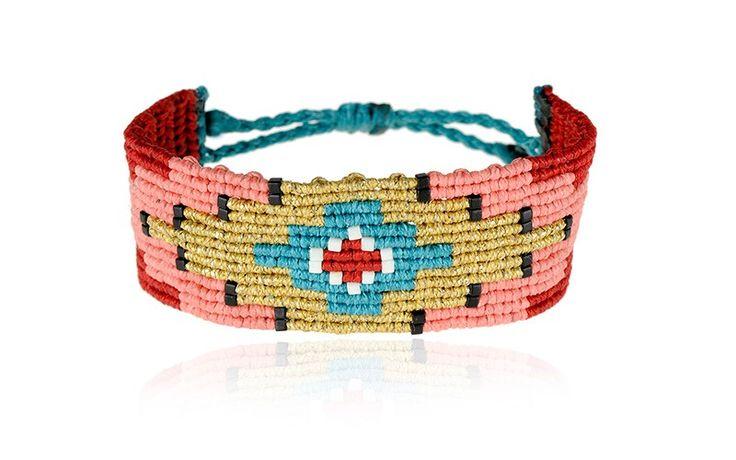 Zoe Kompitsi | Pink & Red Geometric Macrame Bracelet | Collection: Anima Libera Black & white beads Adjustable strap
