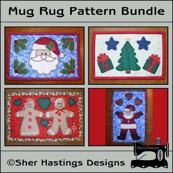 PDF Pattern for Christmas Mug Rug Bundle - Christmas Mini Quilts #christmas #mugrugs #miniquilts