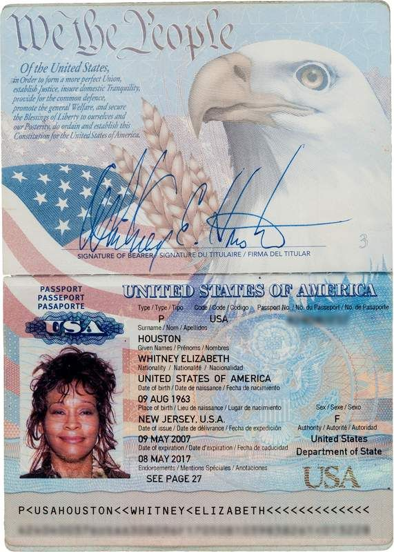 Withney Houston passport (1)