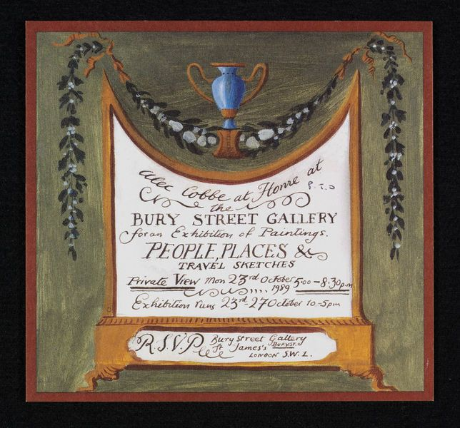 Invitation card to a private view of paintings by Alec Cobbe. V
