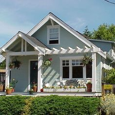 house with pergola in front porch - Google Search