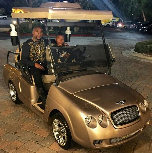 Floyd Mayweather buys his son a gold Bentley golf cart~