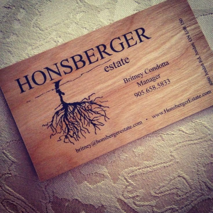 Honsberger estate Jordan Ontario recycled cherry wood business card