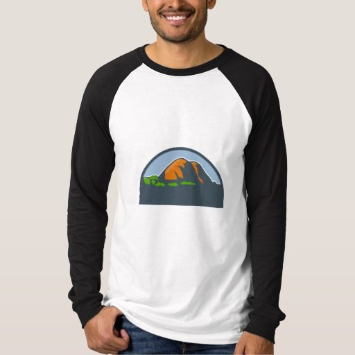Mountains Trees Half Circle Retro Shirt. Illustration of mountains and trees scenery set inside half circle done in retro style. #Illustration #MountainsTrees