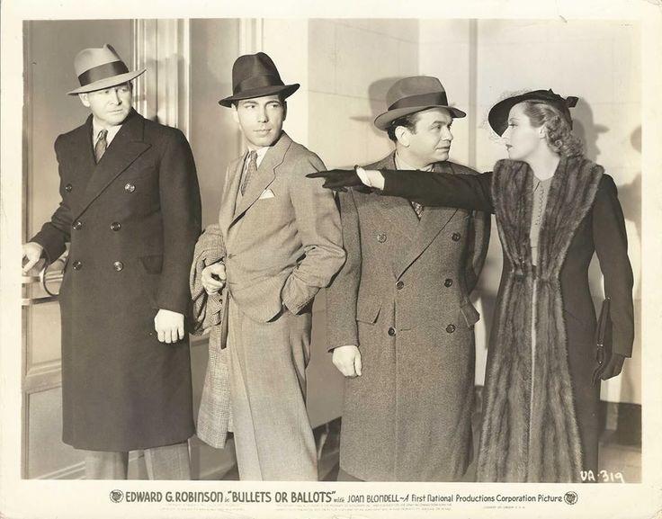 "Joan Blondell with Barton MacLane, Humphrey Bogart and Edward G. Robinson in :Bullets or Ballots"" (1936)"