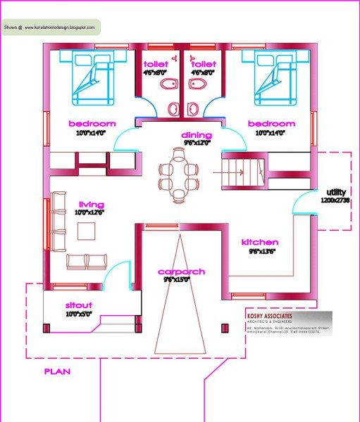 First Floor Plans For Small House Under 1000 Sq Feet Kerala Home