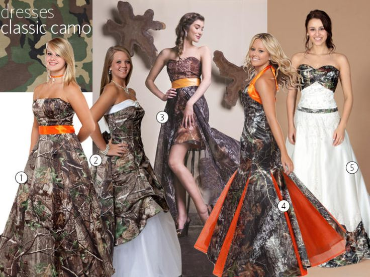 Popular  Camo Wedding Dresses and Bridesmaid Dresses