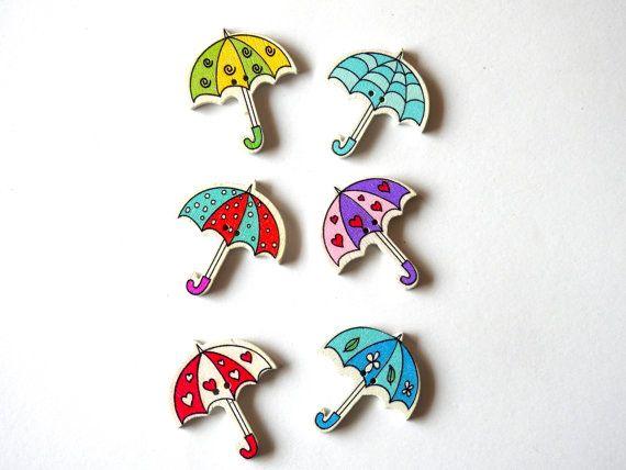 Wooden Button Colourful Umbrella - 6 pcs