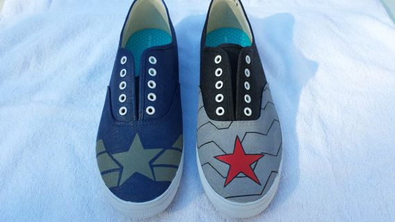 Captain America and the Winter Soldier shoes by WhiskyFoxtrot