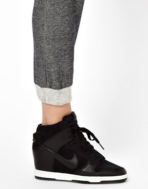 Image 4 of Nike Dunk Sky High Black Wedge Trainers