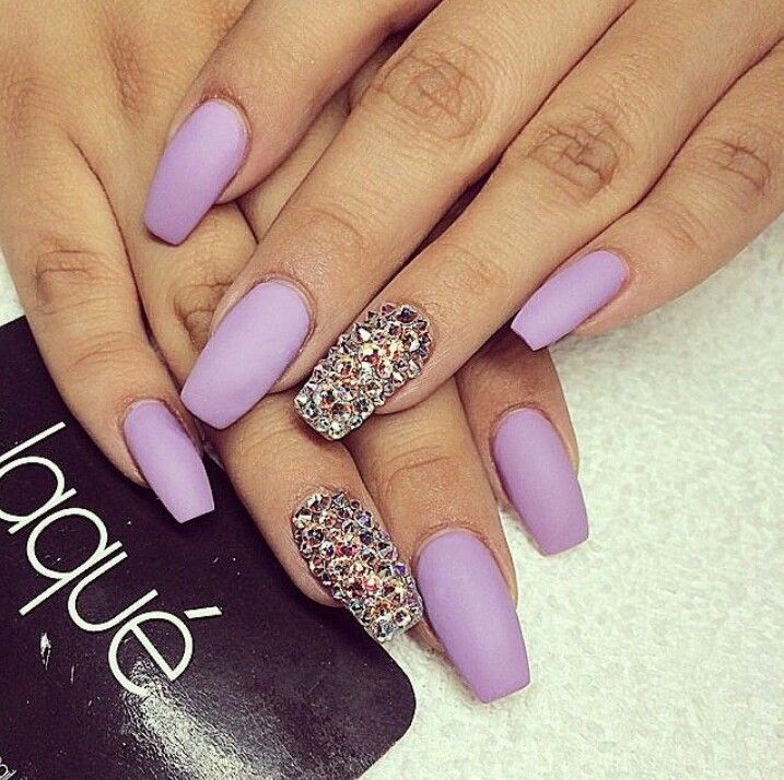 Laque Nail Bar | Matte Lavender Square Tip Acrylic Nails w/ Rhinestones