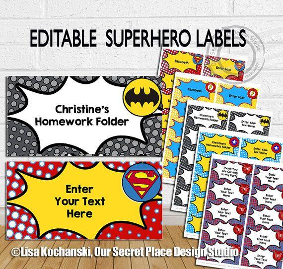 INSTANT DOWNLOAD Editable Superhero Labels by OurSecretPlace