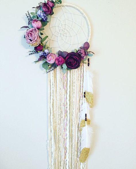 Floral Dream catcher Boho Chic Dreamcatcher by BlairBaileyDesign