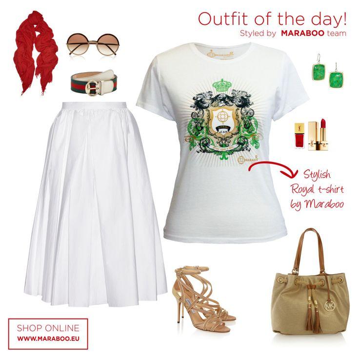 "White skirt,maraboo t-shirt ""gold green knight"" $39.90€,beige sandals"