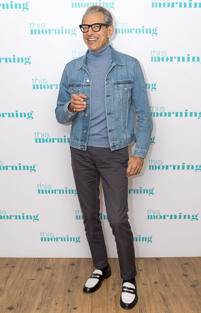 0469d78db20a Jeff Goldblum wearing a denim jacket and grey trousers on This Morning