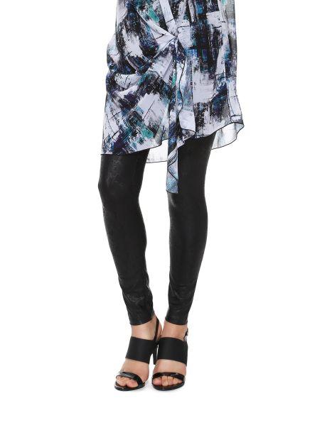 These PU coated leggings feature a black lace design.