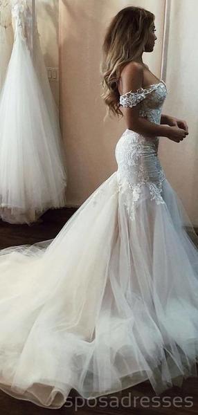 Off Shoulder Lace Mermaid Wedding Dresses Online, Cheap Beach Bridal D – SposaDresses #wedding #weddingdresses #bridal #cheapweddingdresses #bridaldresses #bridalgowns #weddingidea