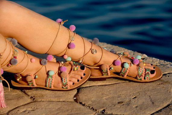Pom Pom Sandals Tie up Gladiator Sandals by PenelopesTemptations