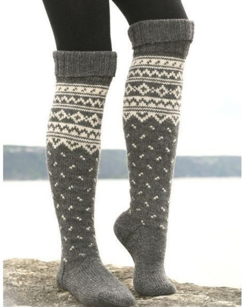 tall socks---these socks are right up my alley. With a nice warm off the shoulder sweatshirt, my hair thrown up in a messy bun, and a book..err. a movie..and I would be set