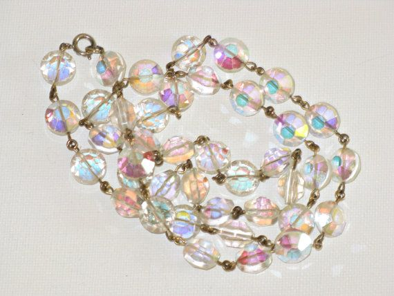 "Long Opera Length 32"" Vintage Swarovskl Aurora Borealis Crystal Necklace (N-1-6)"