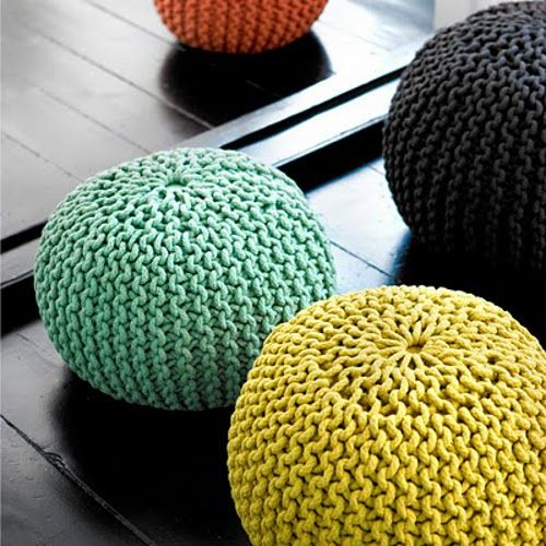 Puffs redondos tejidos con cuerda de algod n de colores - Cuerdas de colores ...