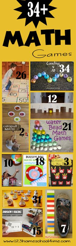 "Make math COOL(!) with these 34+ games for preschool, elementary and homeschool students! Visit ""123 Homeschool for me"" for more."
