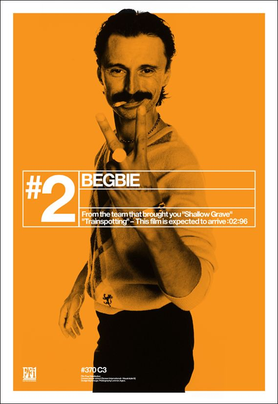 The black, white and orange posters for Danny Boyle's Trainspotting perfectly captured the film's energy and grittiness.  (scheduled via http://www.tailwindapp.com?utm_source=pinterest&utm_medium=twpin&utm_content=post136412071&utm_campaign=scheduler_attribution)